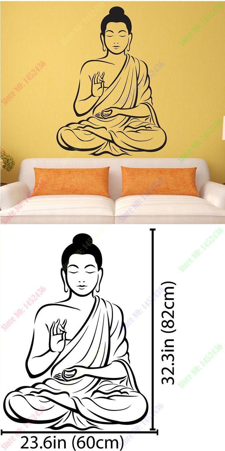 New Arrival Vinyl Wall sticker Buddha Yoga God Om Wall Decal Meditating Buddha India Asian Spiritual Awakened One home decor $22.99