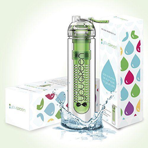 Fruit Infuser Water Bottle YouGreen - The Best Infuser Water Bottle for Sports - 27oz BPA FREE Water Bottle Fruit Infuser - Fruit Infused Water Bottle with FREE Bonus Recipe eBook