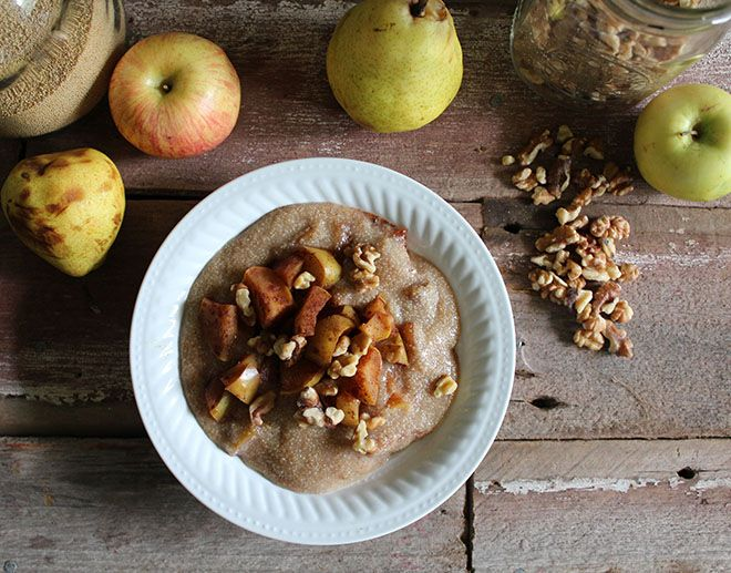 Nutrition Stripped | Cinnamon Apple and Pear Amaranth Porridge | http://www.nutritionstripped.com