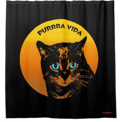 Purring Cat And Sun Purrra Vida Pure Life Cool Shower Curtain - cool gift idea unique present special diy