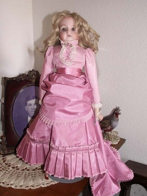 "FRENCH FASHION DRESS Gown with Train and Pantaloons for 18-20"" Bisque DOLL Rose"