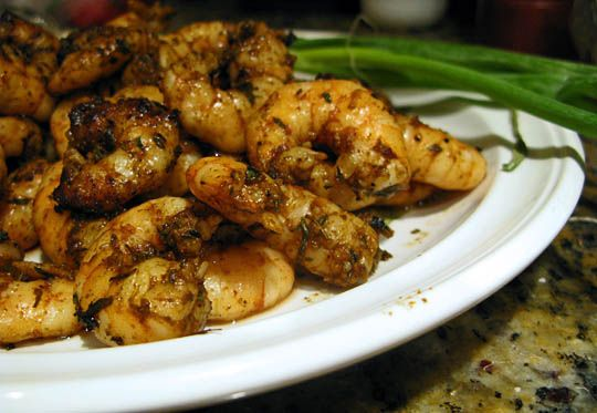 Spicy grilled shrimp...quick for baseball season dinners