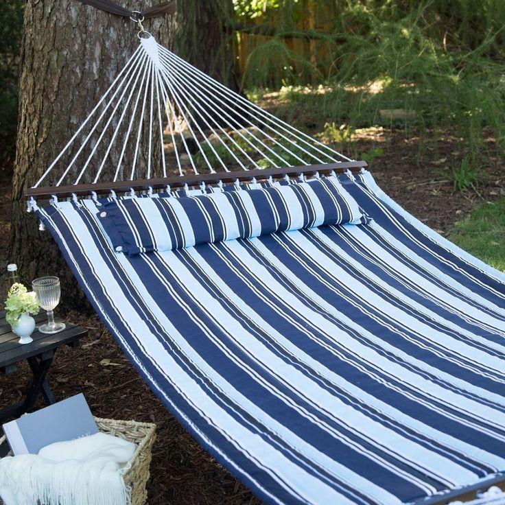 Double Hammock With Pillow Outdoor Camping Hammock 11.5' Backyard Garden Comfort #DoubleHammockWithPillow