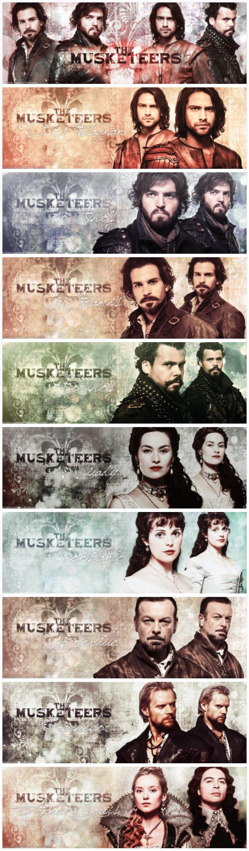 The Musketeers series II banner set: Athos Comte De La Fere, Porthos Du Vallon, Aramis, D'Artagnan, Captain Treville, Constance Bonacieux, Milday De Winter, Queen Anne, King Louis & Comte De Rochefort.