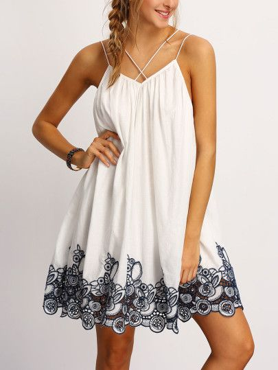 Black Spagetti Strap Flower Embroidered Accent Dress