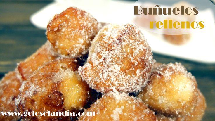 Buñuelos rellenos receta escrita y vídeo paso a paso. #golosolandia http://www.golosolandia.com/2017/03/bunuelos-rellenos.html   todos los secretos