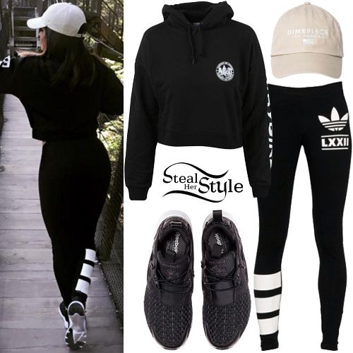 Becky G posted some pictures on instagram wearing The Babygirl Crop Hoodie ($41.95) and the 6 Panel Baseball Cap ($36.00) both by Dimepiece, Adidas Originals Berlin Logo Leggings ($29.99) and Reebok FuryLite New Woven Shoes ($74.99).