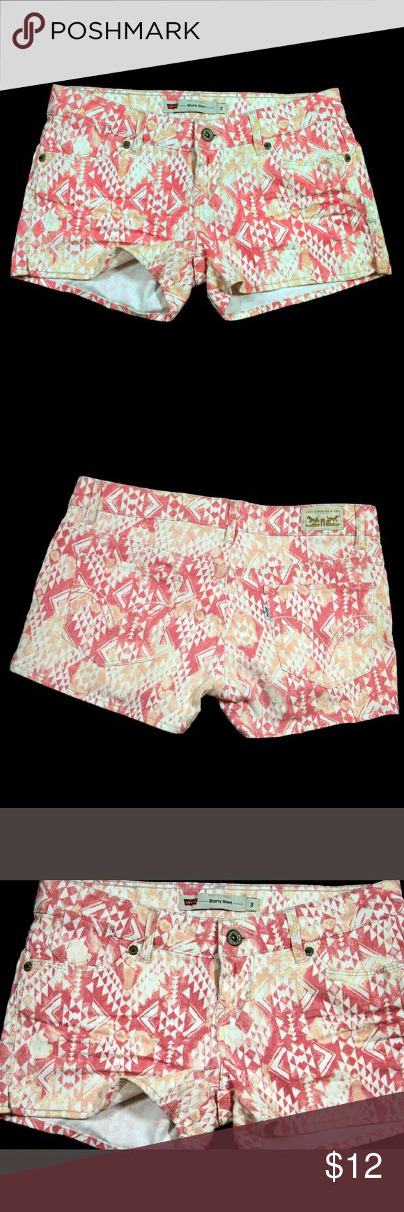 """Levis Shorty Short Jean Shorts with Aztec Print Levis Shorty Short Junior Womens Jean Shorts Size 3 Orange White Aztec Print Material:  52% Ramie, 46% Cotton, and 2% Spandex  Measurements: Waist = 28"""" Outseam = 9.5"""" Inseam = 2""""  Condition:  Great Pre-Owned Condition from Clean Pet/Smoke Free Home. Levi's Shorts"""