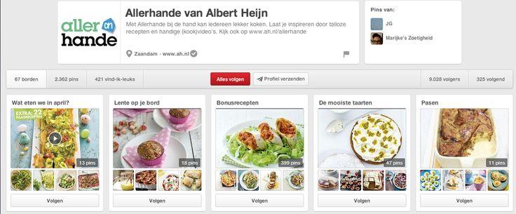 Albert Heijn, de Nederlandse supermarktketen, heeft een applicatie met lekkere recepten. Je kan makkelijk alle ingrediënten in je winkelmandje/ingrediëntenlijstje stoppen en zo naar de winkel gaan. Albert Heijn heeft ook een pinterestpagina aangemaakt. De recepten zijn makkelijk ingedeeld, voorzien van commentaar en worden nog sneller gepind (je moet er minder moeite voor doen én je komt ze ook tegen als je zelf op pinterest op zoek bent naar recepten). http://www.pinterest.com/allerhande/