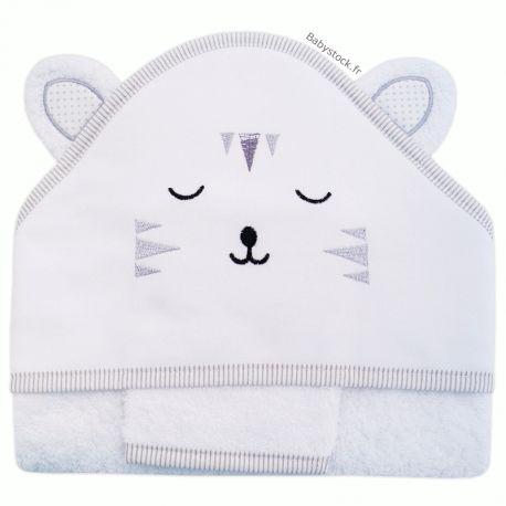 f7c40013bebf8 Grande sortie de bain mixte en forme cape bébé + gant en éponge brodée  Tigre gris