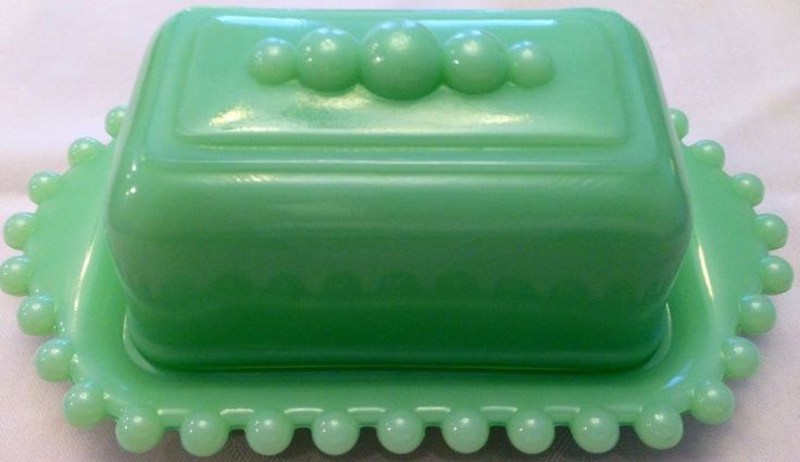 Beautiful Flawless Jadite Vintage Butter Dish