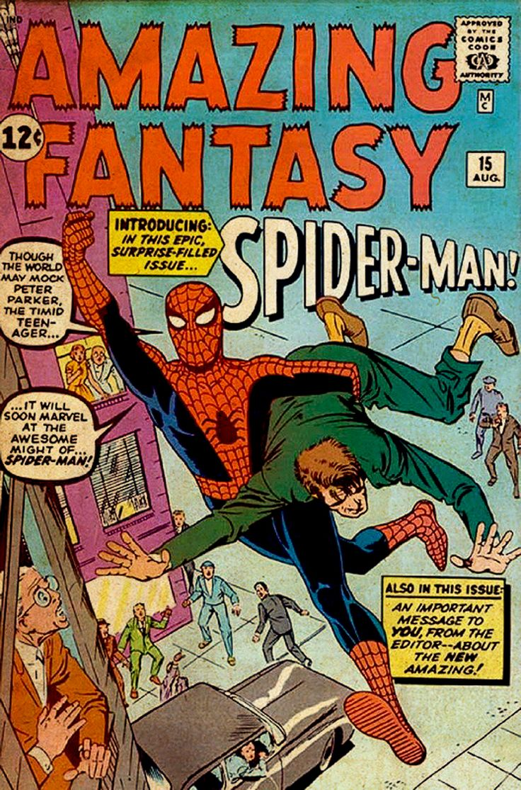 comicbookartwork:  Original Amazing Fantasy #15 Cover Art By Steve Ditko Although the interior artwork was by Steve Ditko alone, Stan Lee rejected Ditko's cover art and commissioned Jack Kirby to pencil a cover that Ditko inked.