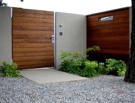 Awesome Wooden Gate Designs : Inspiring Modern Entry Wooden Gate Designs Standard Gate For A Wood Clad Version With Horizontal Slats And Rep...