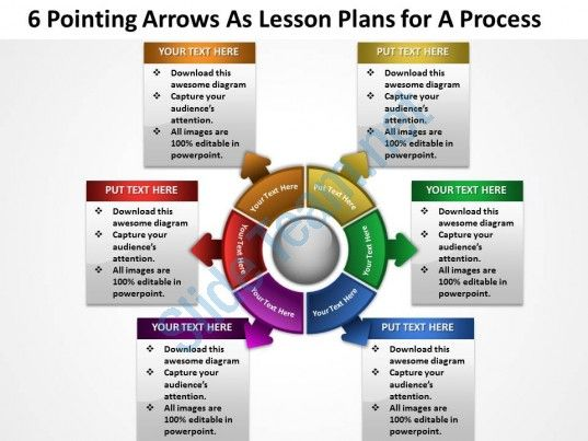 6 pointing arrows as lesson plans  for a process powerpoint templates ppt presentation slides 812 Slide01