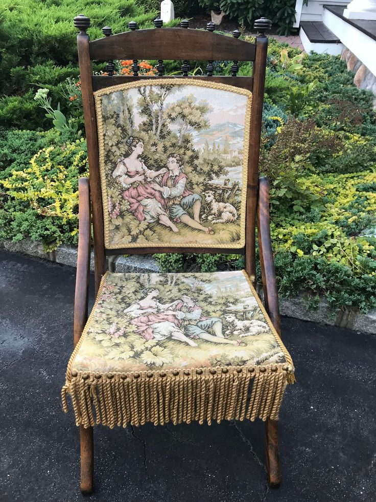 Antique circa 1890s victorian tapestry folding chair
