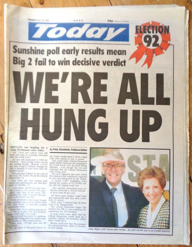 Today Newspaper April 10 1992 Famous mistake UK general election result 1990s UK politics John Major Neil Kinnock Conservatives Labour by TrooperslaneBooks on Etsy
