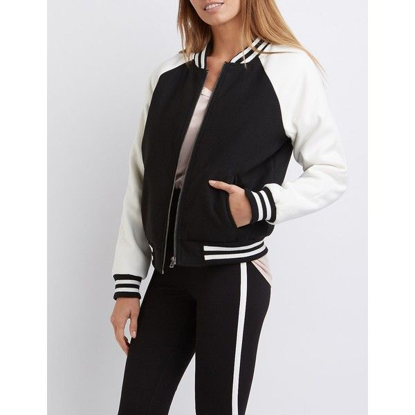 Charlotte Russe Varsity Letterman Bomber Jacket ($43) ❤ liked on Polyvore featuring outerwear, jackets, black combo, varsity jacket, fleece varsity jacket, zipper jacket, fleece-lined jackets and letterman jackets