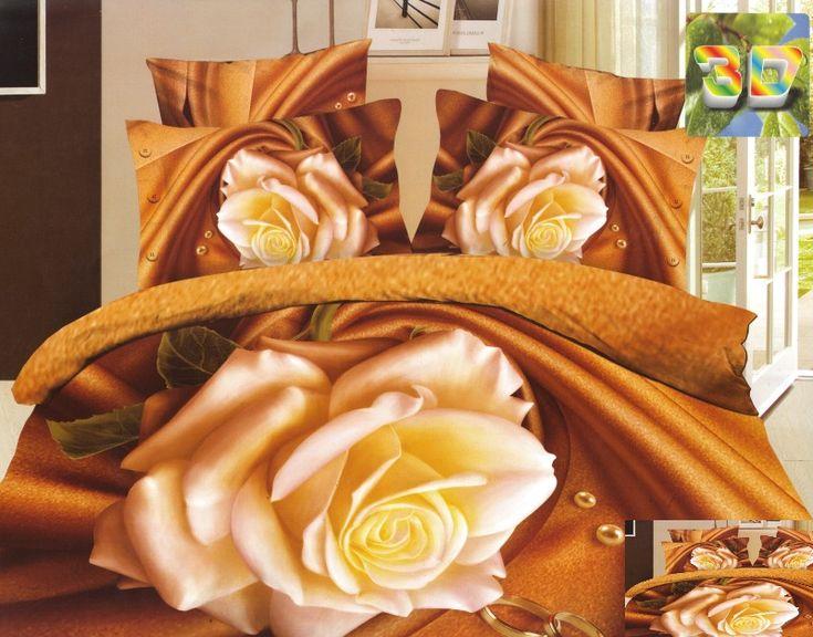 Pościel karmelowa bawełniana z kremową różą