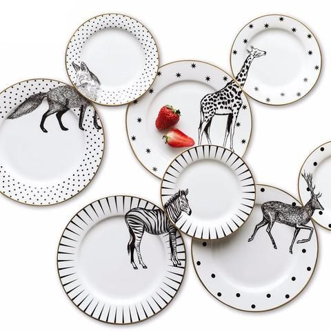 Eco-friendly bone china dinnerware sets in black and white.Precious and adorable animal combined designs of...