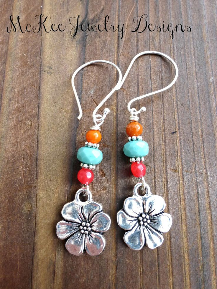 Stone, glass and sterling silver flower earrings. Pink, turquoise and orange.