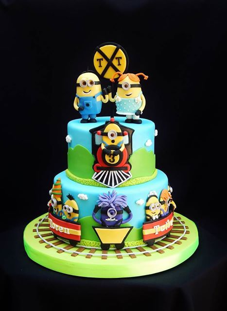 Minions on a train party 6/8 cake