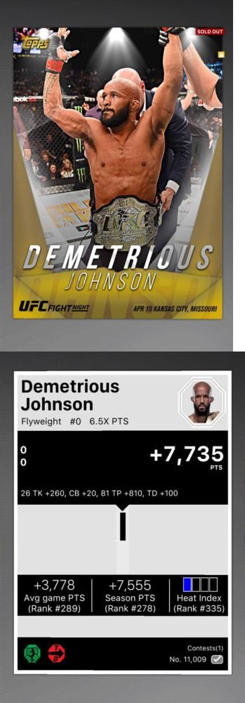 Mixed Martial Arts MMA Cards 170134: Topps Ufc Knockout - Demetrious Johnson 1 1 Contest [Digital] -> BUY IT NOW ONLY: $150 on eBay!