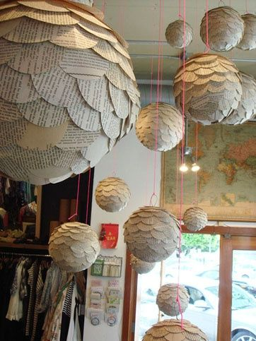 For a window at L.A. fashion boutique Market, Cathy Callahan crafted artichoke-like orbs made from cutouts from old books, magazines, and stationery.