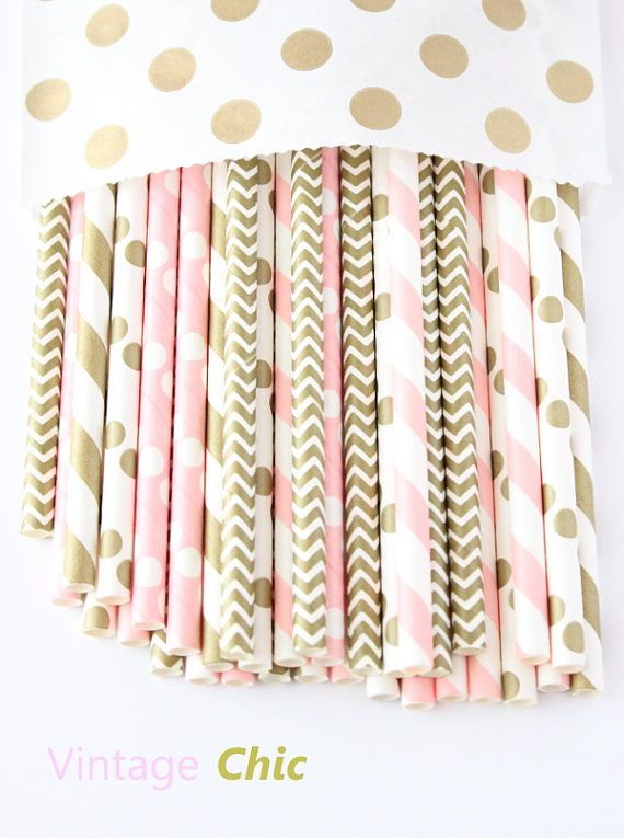 Pink and Gold Minnie Mouse first birthday party decorating idea: light pink and gold paper straws-set of 25 by GlitterSaturday. Buy $4.75 for 25: https://www.etsy.com/listing/268665371/light-pink-and-gold-paper-straws-set-of?ga_order=most_relevant&ga_search_type=all&ga_view_type=gallery&ga_search_query=light%20pink%20and%20gold%20paper%20straws&ref=sc_gallery_1&plkey=0fe52cb52d5b2b5e24e892492bb462c3fa88dd81:268665371 For more ideas, visit A Pop of Party!