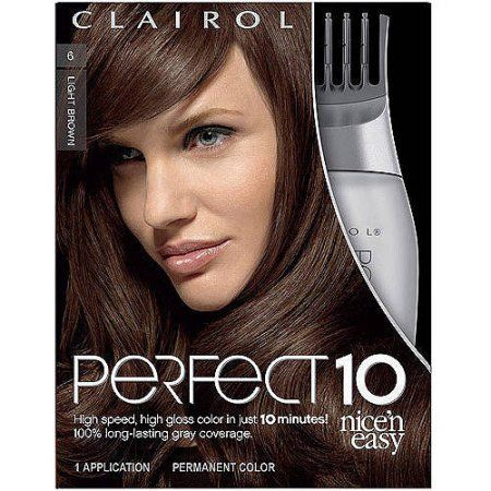 Clairol Perfect 10 by Nice 'n Easy Hair Color 1 Kit, Brown