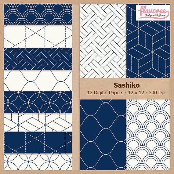 BLUE SASHIKO - Digital Scrapbooking Paper Pack by Flavoree on Etsy, $5.00