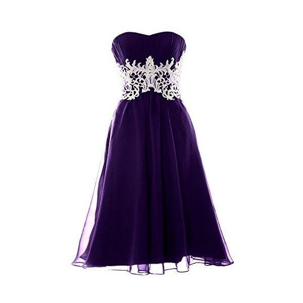 MACloth Women Customized Strapless Short Lace Prom Dress Formal Party...  ($110) ❤ liked on Polyvore featuring dresses, gowns, formal evening dresse…