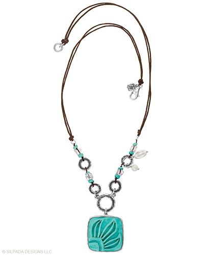 """True style is carved in stone with this Sterling Silver, Howlite, Pearl and Glass Necklace. Approximately 20""""."""