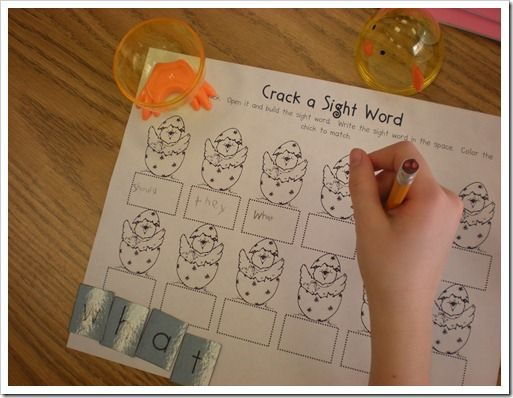 Literacy Center - Crack a Sight Word  (put sight word letter into plastic eggs. pick an egg, build the sight word and write it)