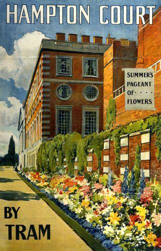 Hampton Court by Tram. Vintage. Also - I adore Hampton Court palace gardens! A London must-visit place!