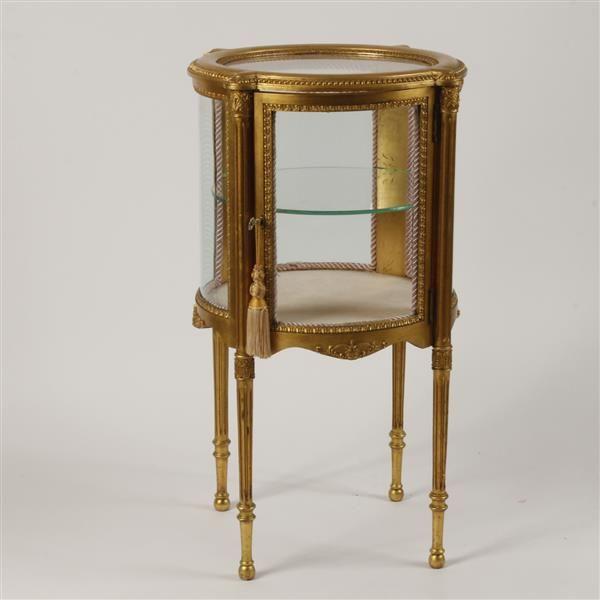 "Louis XVI style gilt wood glass top curio cabinet stand. 38""H x 21""Diam."