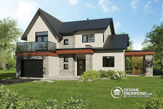 Maison saine permettant des panneaux solaires sur le toit, 2 terrasses, petite serre extérieure, 3-4 chambres (# 3723-DJG)  http://www.dessinsdrummond.com/detail-plan-de-maison/info/azalee-contemporain-zen-1003202.html