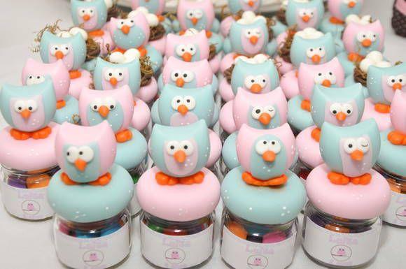 potinhos com corujinha em biscuit, poderá ser escolhido outras cores, para lembrancinhas de aniversario, cha de bebe, nascimento... os docinhos e os rotulos não estão inclusos!!! R$ 6,60