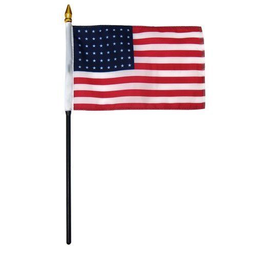 U.S. 48 Stars flag 4 x 6 inch by US Flag Store. $1.60. Low Cost Shipping Available. A Quality Printed Flag with Sewn Edges. Imported. U.S. 48 Stars Flag. Mounted on a 10 Inch Plastic Stick with Spear Tip. U.S. 48 Stars flag 4 inch x 6 inch, mounted on a 10 inch plastic stick. Flag is made from polyester and printed in bright colors to make an attractive flag. Each flag is individually sewn around the edges.