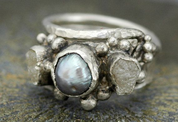 Diamond and Pearl Engagement Ring with Sterling by Specimental