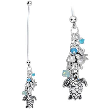 Sea Creatures Pregnancy Belly Ring Created with Swarovski Crystals | Body Candy Body Jewelry