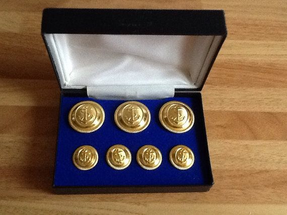 Vintage Boxed Merchant Navy Buttons Unused. by UKTREASURE on Etsy
