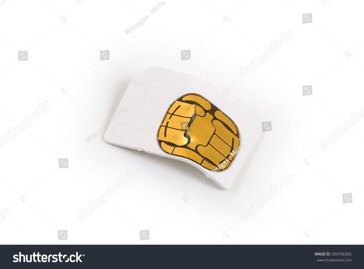 Broken used mobile phone sim card isolated on white