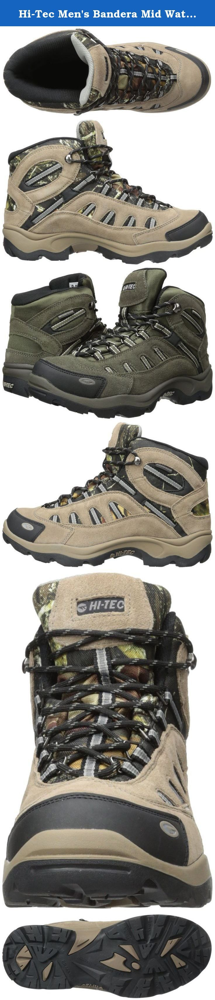Hi-Tec Men's Bandera Mid Waterproof Hiking Boot. Traversing wet terrain will be a cinch in these Hi-Tec® men's Bandera waterproof mid hiking boots. Their Dri-Tec membrane and moisture-wicking lining will keep your feet nice and dry, while rustproof hardware prevents damage caused by the elements. The upper is comprised of a powerhouse suede/mesh combo for durability and breathability.
