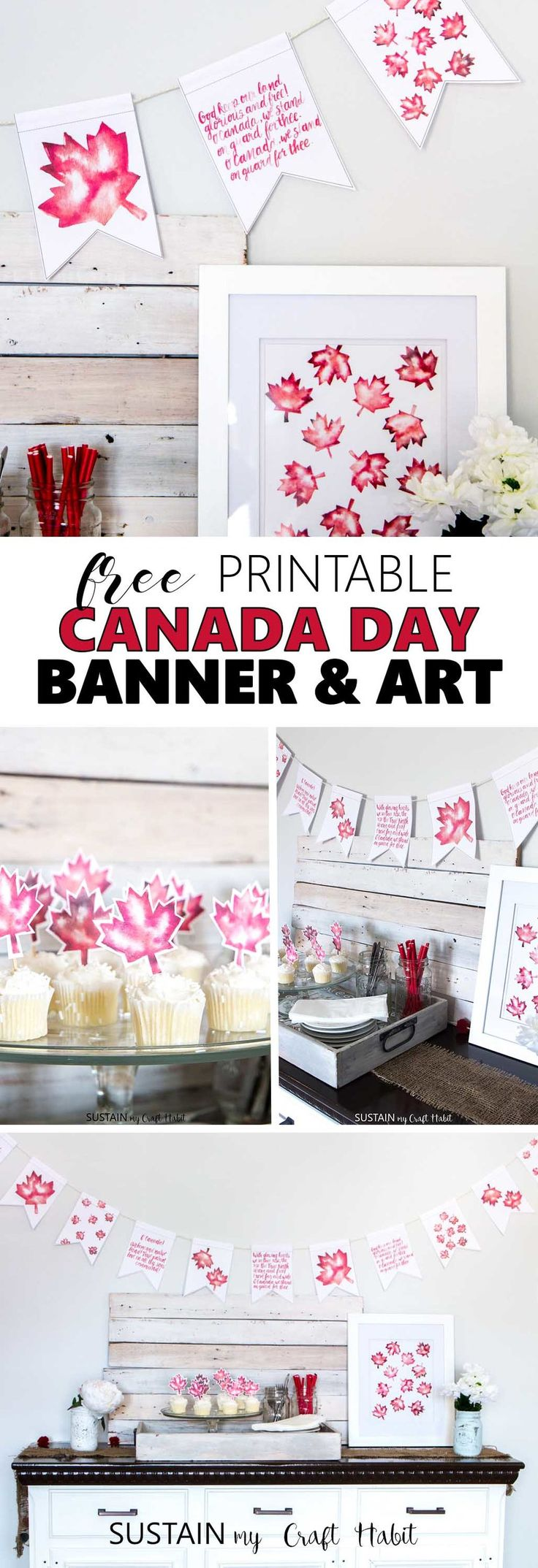 Free printable Canada Day art including watercolour maple leaves and handlettered banner.