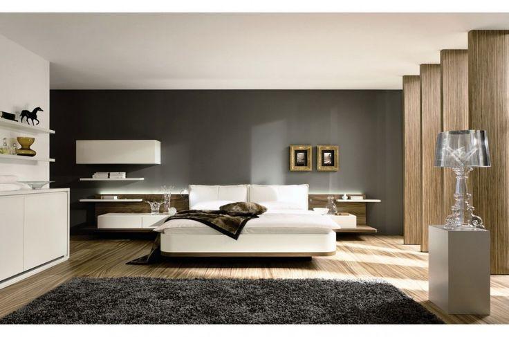 Современный 5 спальнями Современный дом дизайн, который имеет деревянный пол, а также черный Современные стены можно декора с современной Black Carpet может добавить красоты Внутри современной спальне