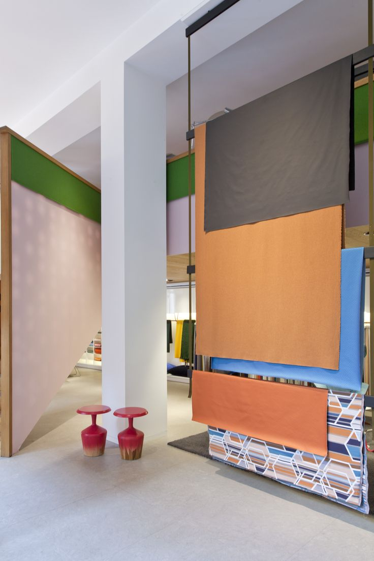 The Kvadrat showroom in Milan was dressed in a colourful installation of our re-coloured Tonus textile, Tonus Meadow, Hero and Umami. #lovecolour