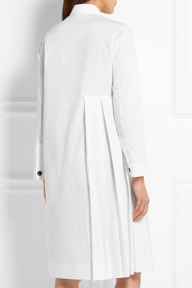White cotton-poplin Partially concealed button fastenings through front 100% cotton Dry clean Designer color: Snow Made in Italy