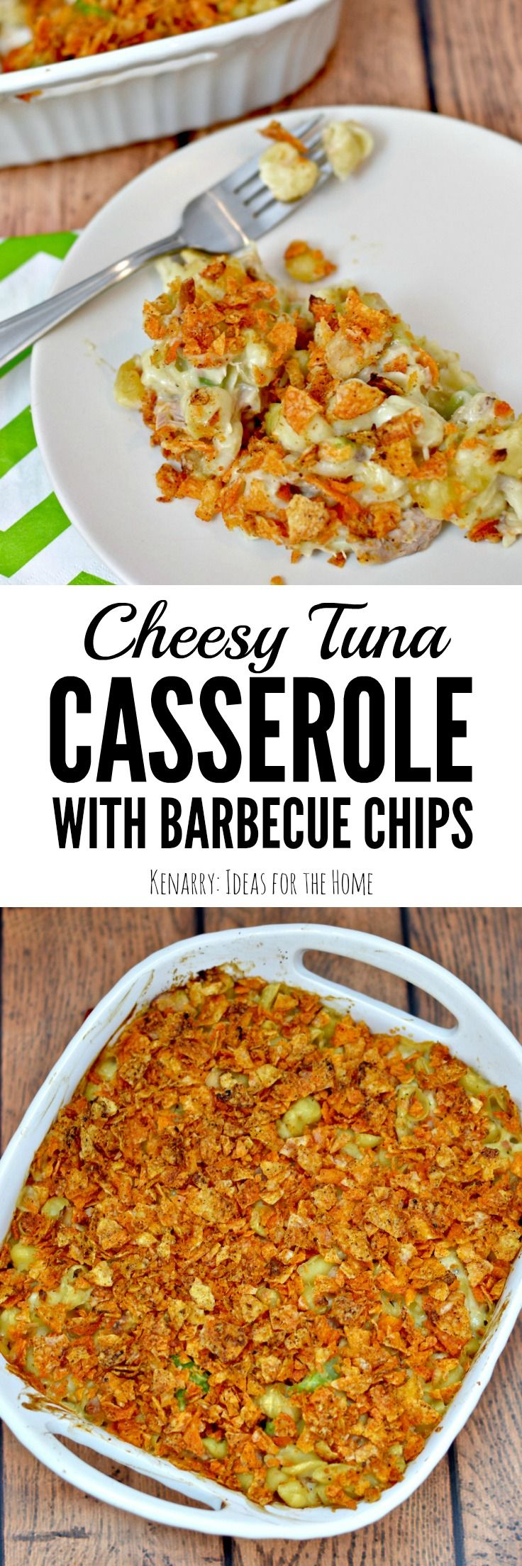 This Cheesy Tuna Casserole recipe is easy to make with shell pasta and topped with crushed barbecue chips. It's a delicious idea for a weeknight meal.