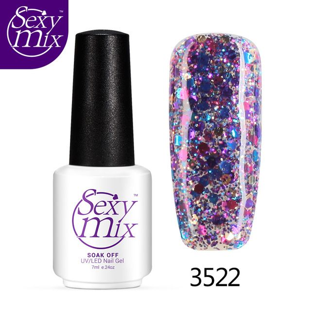 Sexymix brand Professional Diamond Glitter UV Nail Gel Polish Soak Off Golden French Manicure LED