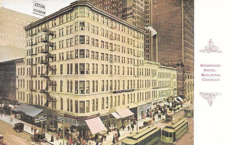 POSTCARD - CHICAGO - MORRISON HOTEL - ITS FIRST VERSION - AERIAL - BUSY STREET - TINTED - c1910